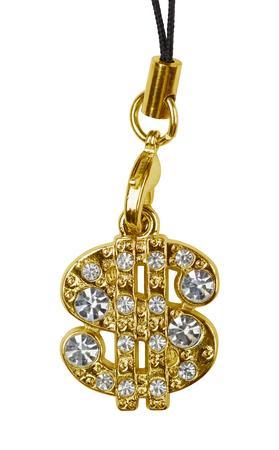 rap: Gold dollar pendant isolated on white
