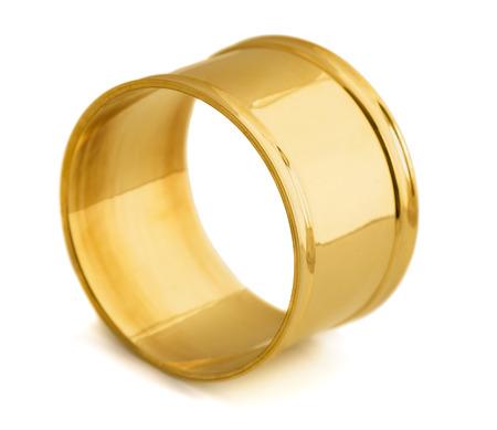 napkin ring: Empty golden napkin ring isolated on white