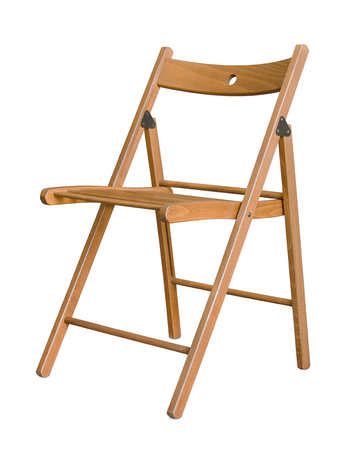 folding chair: Wooden folding chair isolated on white