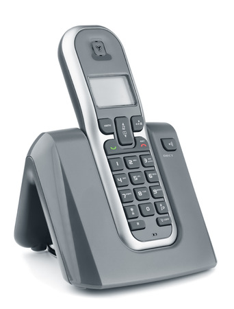 mobile voip: Digital cordless dect phone isolated on white