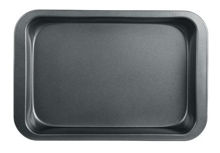 steel pan: Bandeja de horno vac�o aislado en blanco Foto de archivo
