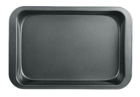 baking cake: Empty baking tray isolated on white