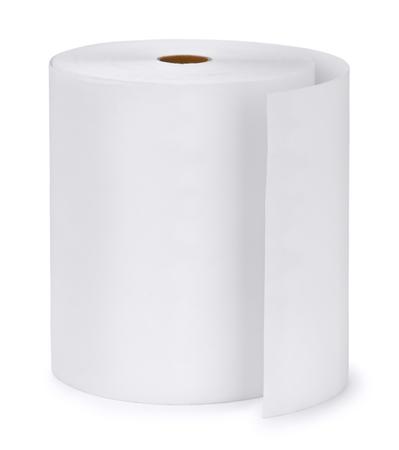 celulosa: Rollo de papel único aislado en blanco Foto de archivo