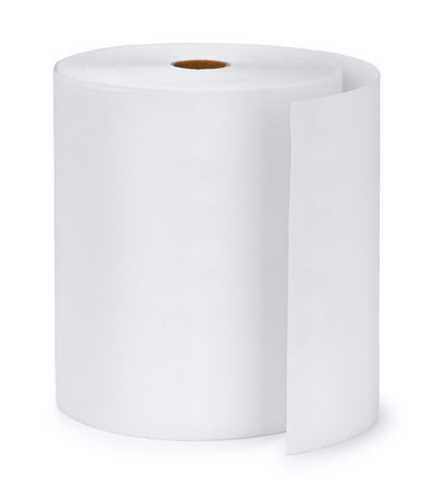 industrial objects equipment: Single paper roll isolated on white