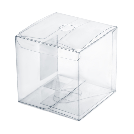 Empty transparent plastic box isolated on white Stock Photo