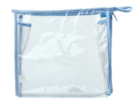 Empty plastic transparent purse bag isolated on white Stock Photo