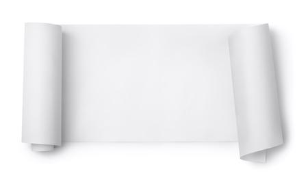 흰색에 고립 된 빈 종이 스크롤