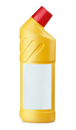 bleach: Yellow plastic bottle of WC cleaner with blank label