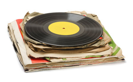 78 rpm: Stack of old vinyl records isolated on white