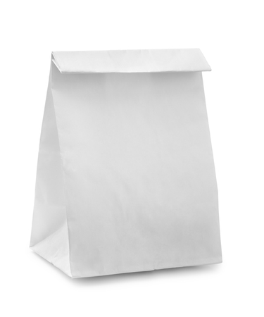 take away: Blank paper bag isolated on white