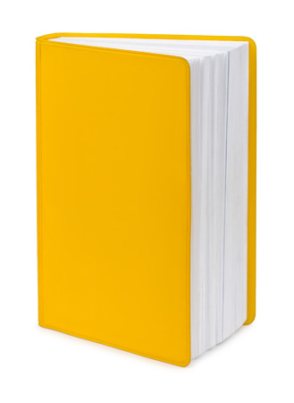 Blank yellow book isolated on white photo