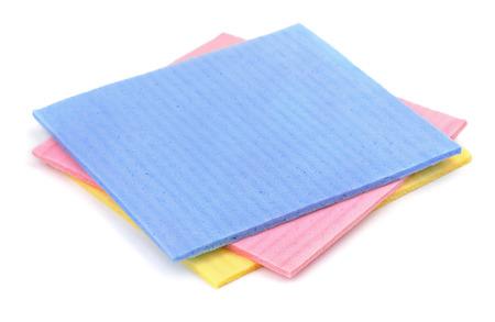 Cellulose sponge cloth isolated on white photo