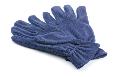 fleece: Pair of fleece gloves isolated on white Stock Photo