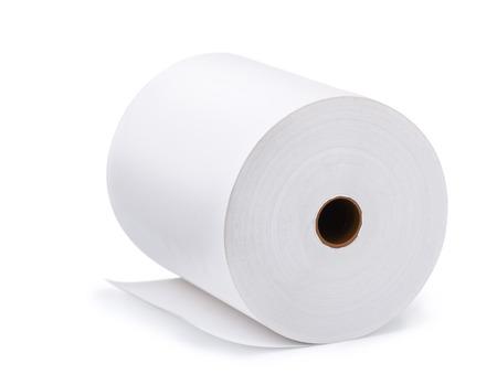 papeles oficina: Gran rollo de papel en blanco aislado en blanco Foto de archivo