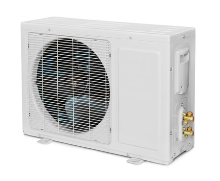 Air conditioner condenser unit isolated on white photo