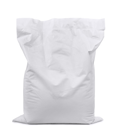 gypsum: White plastic sack isolated on white