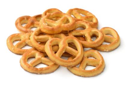 pretzels: Salted pretzels isolated on white Stock Photo
