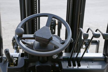 car manufacturing: Close up of generic forklift dashboard