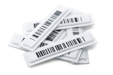bar magnet: Security magnetic strip labels isolated on white
