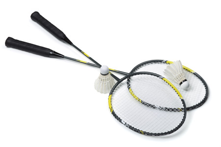 badminton: Badminton rackets and shuttlecocks isolated on white