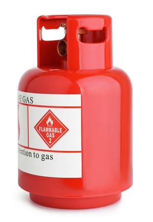 cilindro: Cilindro de gas rojo aislado en blanco