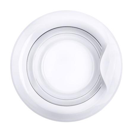 Close up of washing machine door isolated on white Stock Photo