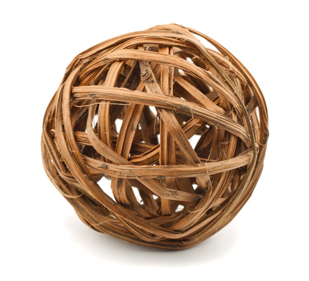 Decorative wooden wicker sphere isolated on white photo