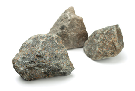 tripple: Three pieces of raw rocks isolated on white Stock Photo