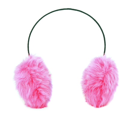 ear muffs: Pink furry ear muffs isolated on white