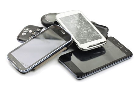 group objects: Pile of broken smart phones