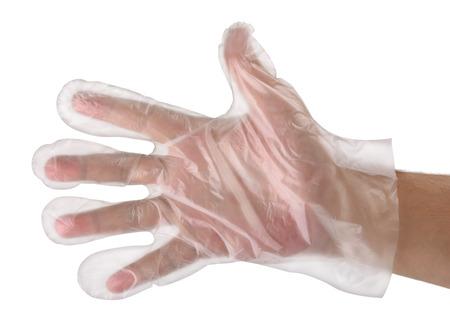 La mano del hombre que desgasta el guante de plástico desechable Foto de archivo
