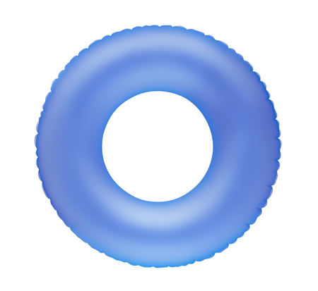 float tube: Blue inflatable swimming ring isolated on white