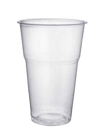 Desechable vaso de cerveza de plástico aislado en blanco Foto de archivo - 32871563