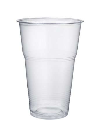 liter: Disposable plastic pint glass isolated on white