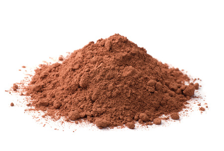 dry powder: Cocoa powder isolated on white Stock Photo