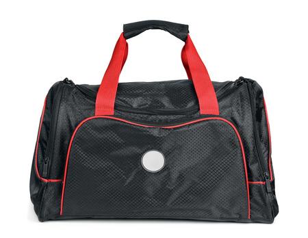 Black sports bag isolated photo