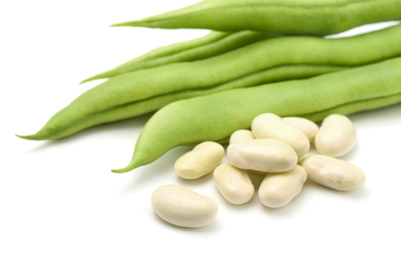 Fresh common beans on white background