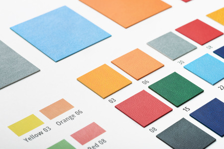 Close up of artificial leather color swatches Stock Photo