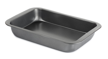 baking tray: Empty metal baking tray isolated on white