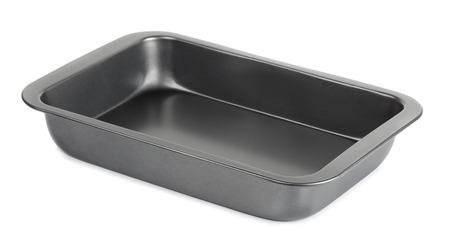 Lege metalen bakplaat geïsoleerd op wit Stockfoto