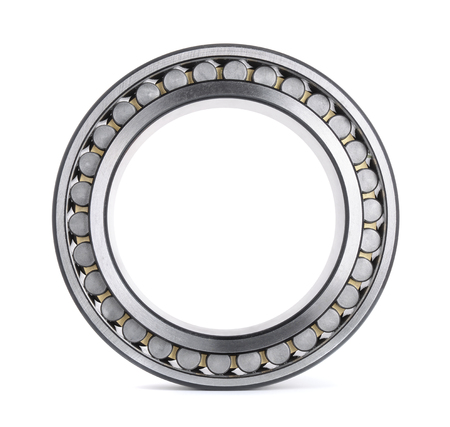 Cylindrical roller bearing isolated on white photo