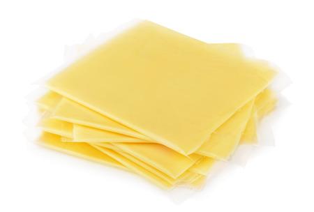Enveloppé fromage en tranches isolé sur blanc Banque d'images - 35639798