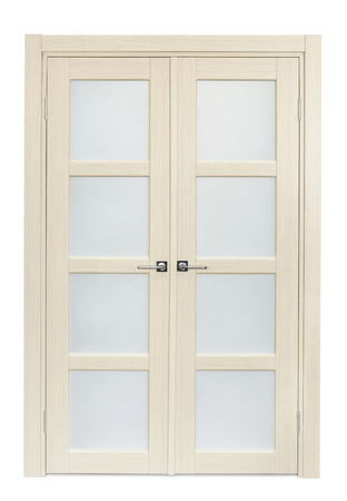 french doors: White oak interior double door isolated on white Stock Photo