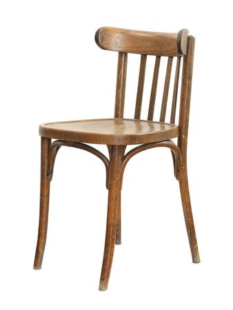 Oude houten stoel op wit wordt geïsoleerd Stockfoto