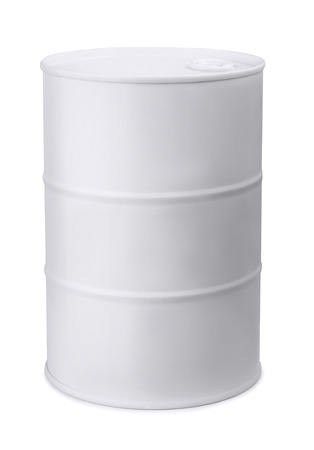 barril de petr�leo: Barril de metal blanco aislado en blanco