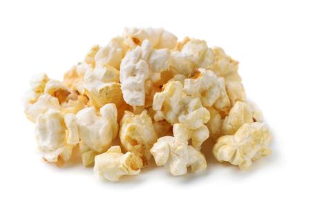 Heap of fresh popcorn isolated on white photo