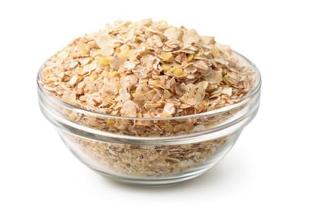energy mix: Bowl of  multi grain flakes isolated on white