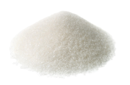 Heap of granulated sugar isolated on white Stok Fotoğraf
