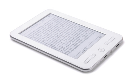 electronic book: E-book reader isolated on white Stock Photo