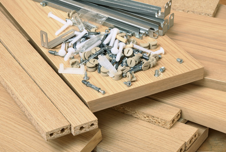 wooden furniture: Close up of assembly furniture kit
